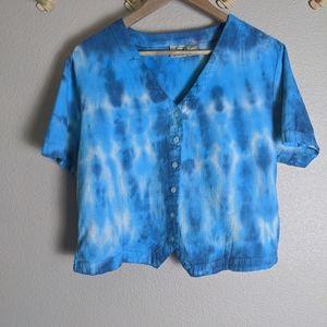 Woolrich %100 Cotton Tie Dye Button Down Crop Top